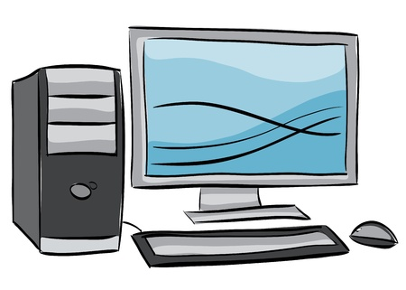 workstation: Illustration of desktop computer, isolated on white background