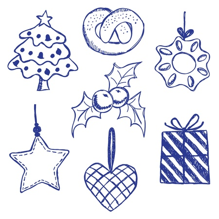 Illustration of christmas symbols, hand drawn style Stock Vector - 15695242
