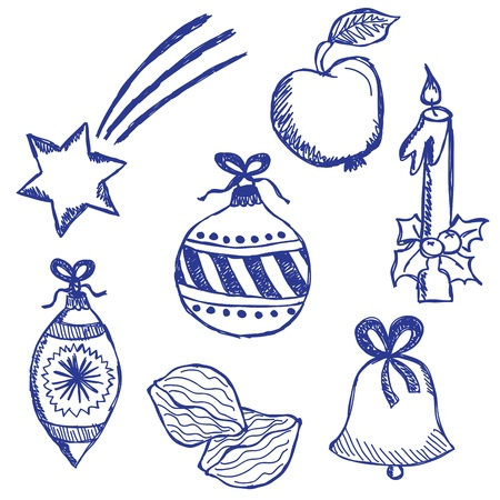 Illustration of christmas symbols, hand drawn style Stock Vector - 15695240