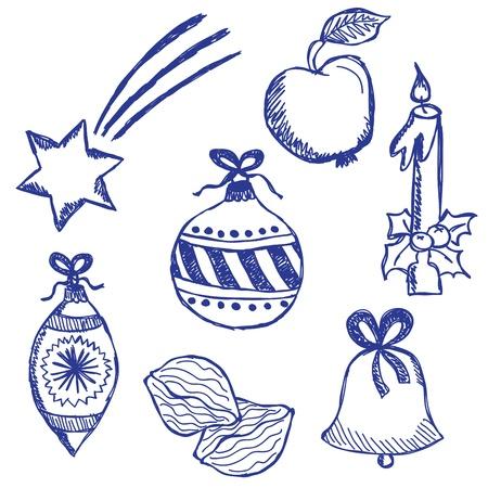 Illustration of christmas symbols, hand drawn style Vector