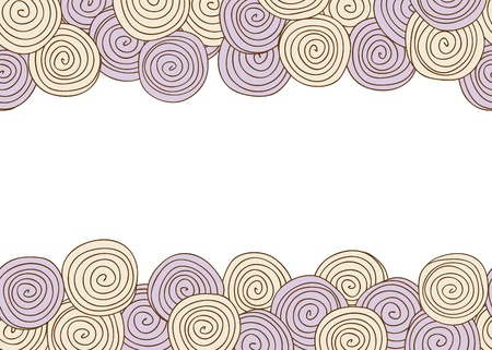 hand drawn frame: Illustration of abstract spiral seamless background with frame