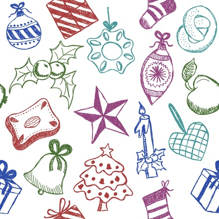 Illustration of christmas symbols, hand drawn style, seamless pattern Stock Vector - 15799556
