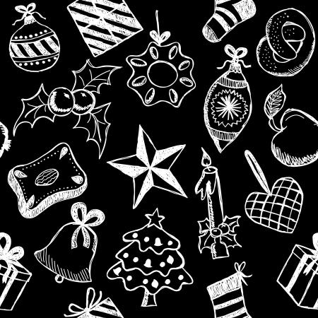 Illustration of christmas symbols, hand drawn style, seamless pattern Stock Vector - 15799555