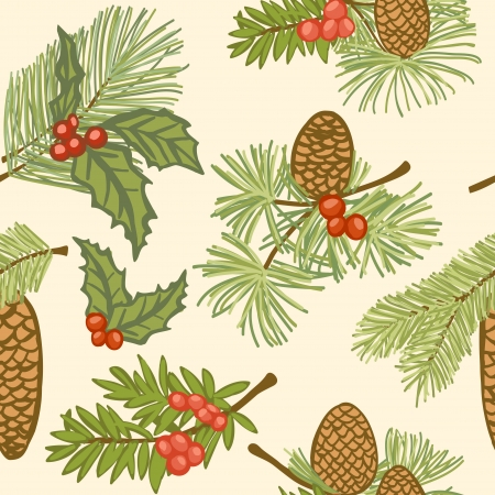 conifers: Illustration of evergreen branches with cones and berries, christmas seamless pattern
