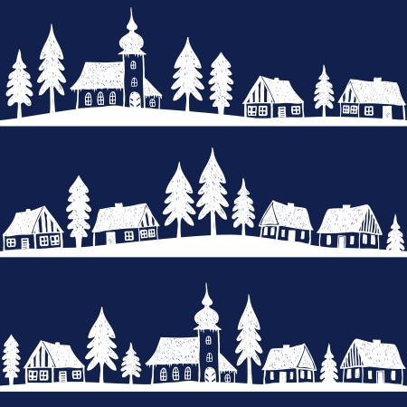 christmas village: Christmas village with church seamless pattern - hand drawn illustration