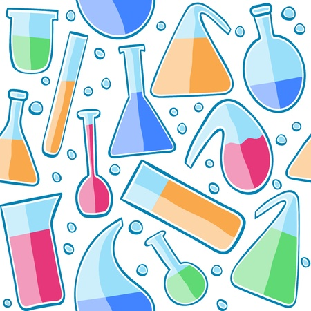 chemical equipment: Illustration of laboratory glass, seamless pattern background