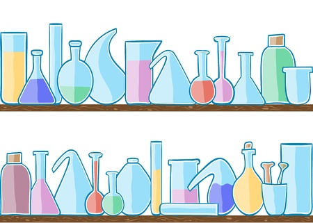 laboratory glass: Illustration of laboratory glass, seamless pattern on shelves