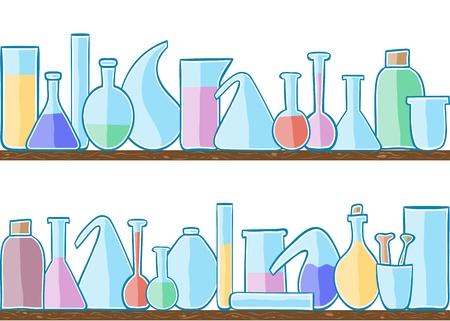 material de vidrio: Ilustración de laboratorio de cristal, patrón transparente en las estanterías Vectores