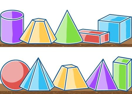prisma: Ilustración de sólidos en matemáticas, seamless pattern en los estantes