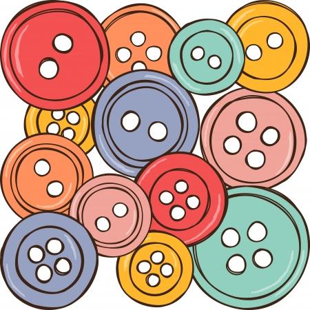 hilo rojo: Equipamiento de coser - ilustraci�n de botones de color, dibujo vectorial