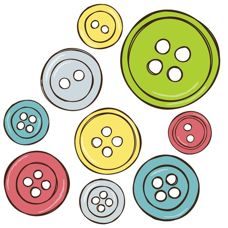 sewing buttons: Sewing equipment - illustration of isolated colored buttons, vector drawing Illustration