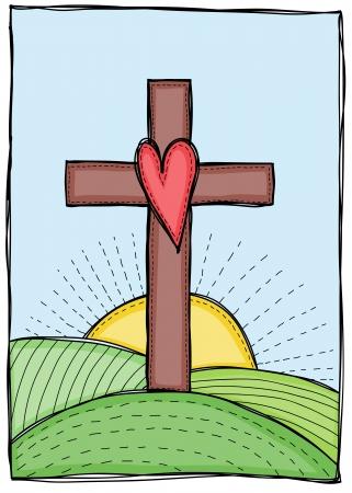 Godsdienst - kruis met hart, heuvels en zon illustratie