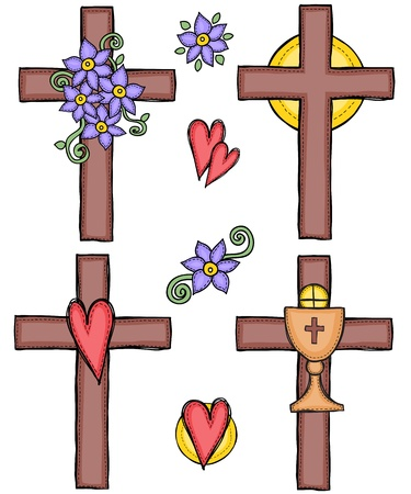 sacred heart: Religion - illustration of crosses with heart, flower, sun and chalice