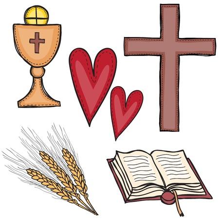 Religione - insieme di simboli religiosi - croce, calice, cuore, libro e grano