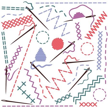 hilo rojo: Equipamiento de coser - ilustración de hilos y agujas