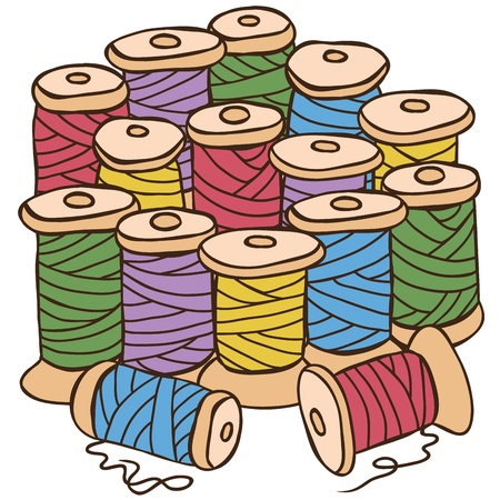embroider: Sewing equipment - illustration of colored threads, vector drawing Illustration