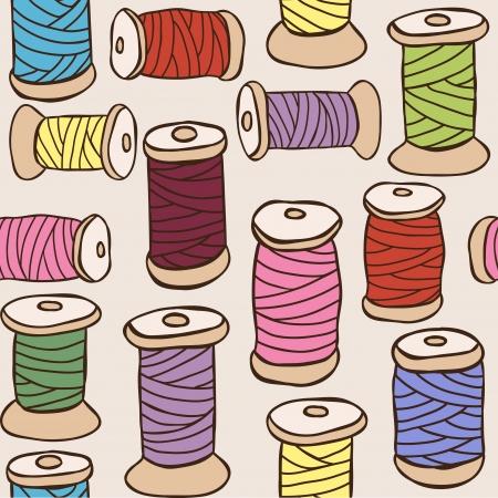 bordados: Equipamiento de coser - ilustraci�n de hilos de colores sin fisuras patr�n Vectores