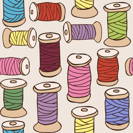 embroidery on fabric: Sewing equipment - illustration of colored threads seamless pattern