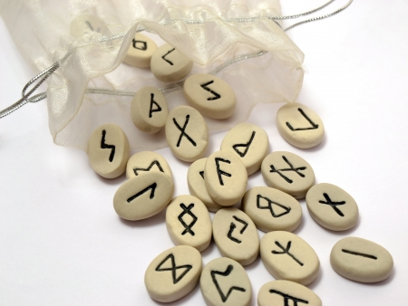 Fortune telling - nordic runes with symbols on stones Stock Photo - 16268474