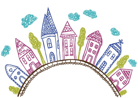 City drawing with houses on hill - hand drawn illustration, doodle style