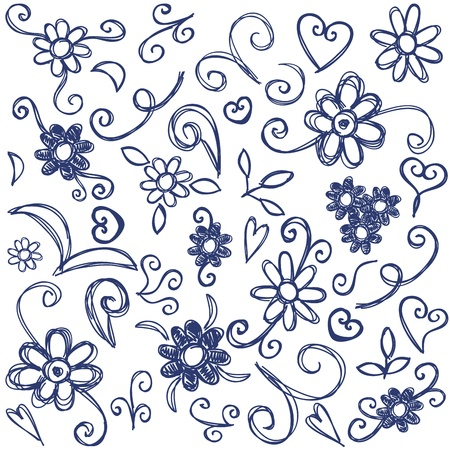 Doodles design elements - hand drawn illustration with flowers, spirals and swirls Stock Vector - 16268488
