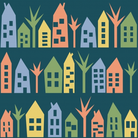 Color houses seamless pattern - city or town with trees Vector