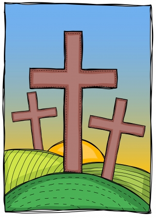 crucified: Religion - three christian crosses on hills with sunset