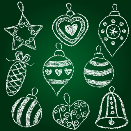 Christmas decorations  - chalk on schoolboard hand drawn balls Vector