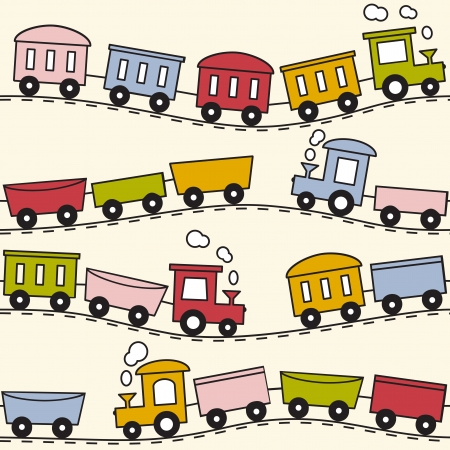railway transportation: Color trains, wagons and rails - seamless pattern