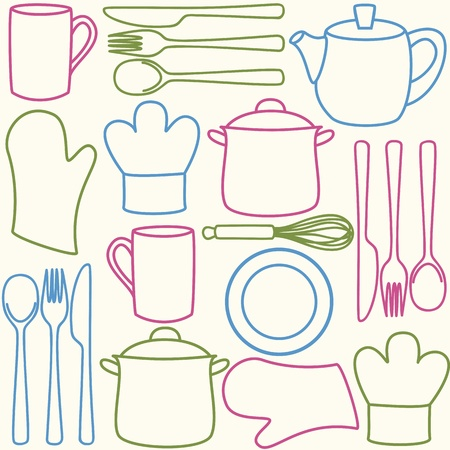 stew pot: Kitchen and cooking utensils and cutlery - seamless pattern Illustration