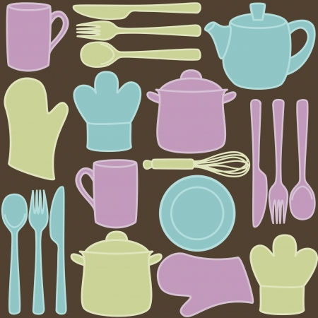 Kitchen and cooking utensils and cutlery - seamless pattern Stock Vector - 16268480