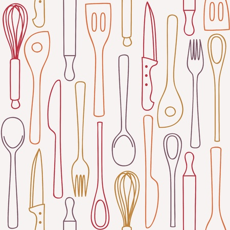 Kitchen and cooking utensils and cutlery - seamless pattern Stock Vector - 16268478