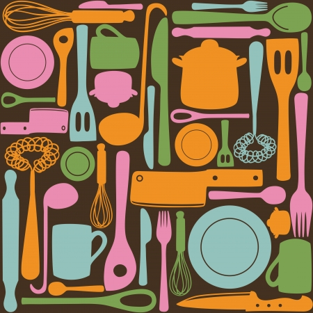 Kitchen and cooking utensils and cutlery - seamless pattern Ilustracja