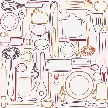Keuken en kookgerei en bestek - naadloos patroon Vector Illustratie