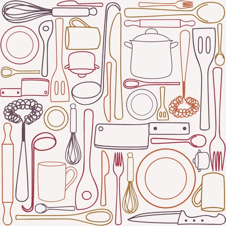 vintage cutlery: Kitchen and cooking utensils and cutlery - seamless pattern Illustration