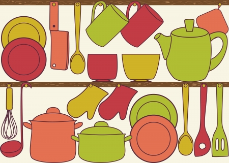 wooden shelf: Kitchen and cooking utensils on shelves - seamless pattern