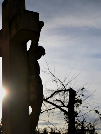 crucifiction: Christianity - Cross with Jesus Christ crucifixion at sunset