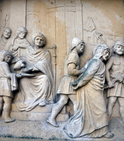 crucifiction: Religion scene Jesus Christ and last judgment in stone