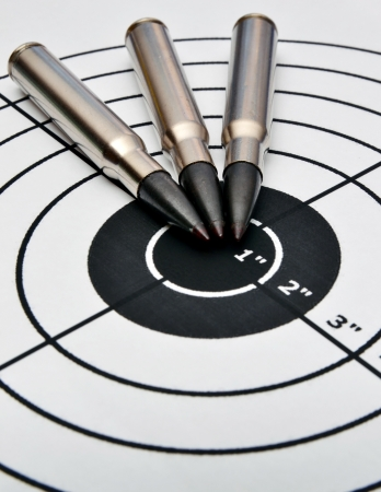 Detail of a paper target and three bullets photo