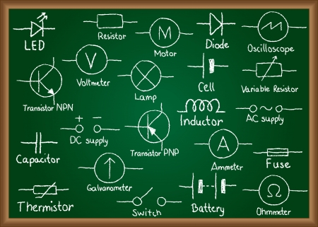 electrical circuit: Illustrazione dei simboli del circuito elettrico disegnato sulla lavagna