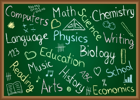 Illustration of school subjects and doodles drawn on chalkboard Vector