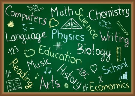 Illustration von Schulfächern und Kritzeleien auf Tafel gezeichnet