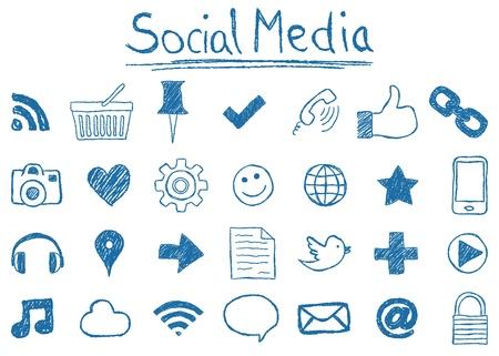 Illustratie van Social Media Iconen, hand-drawn stijl Vector Illustratie
