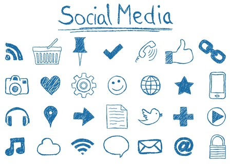 Illustration of Social Media Icons, hand-drawn style Vector