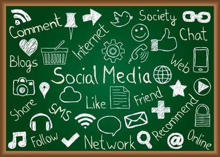 Illustration von Social Media Icons und Begriffe auf Tafel gezeichnet Illustration