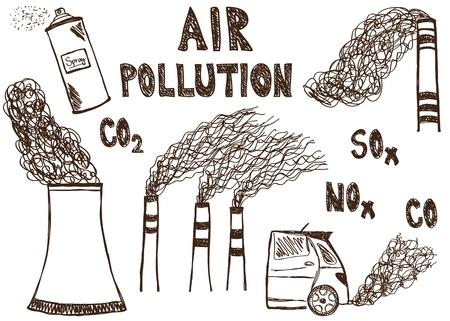 Illustration der Luftverschmutzung doodle Zeichnung auf weißem Hintergrund Illustration