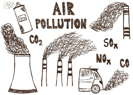 contaminacion ambiental: Ilustración de dibujos del doodle de la contaminación del aire en el fondo blanco