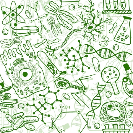molecular science: Seamless pattern background - illustration of biology drawings, doodle style