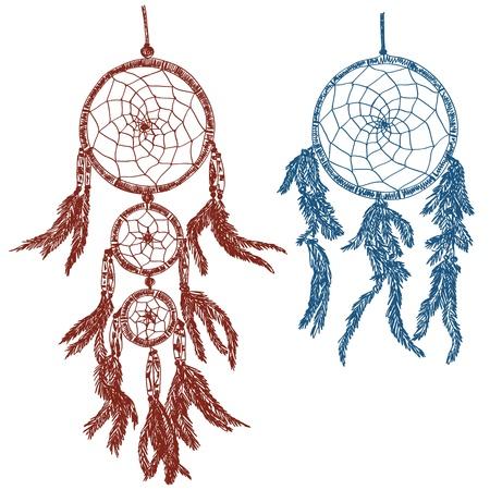 Illustration der Traumfänger - doodle Zeichnung auf weißem Hintergrund Standard-Bild - 17526827