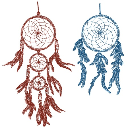 legends folklore: Illustration of dream catchers - doodle drawings on white background